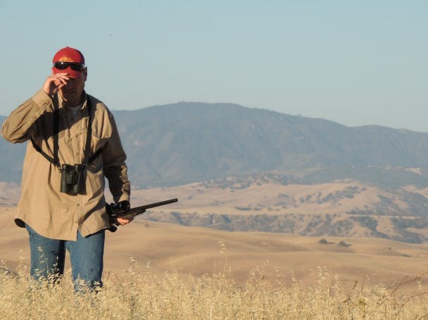 Tim Rose, of Bend, OR, on a hunt in Central California.