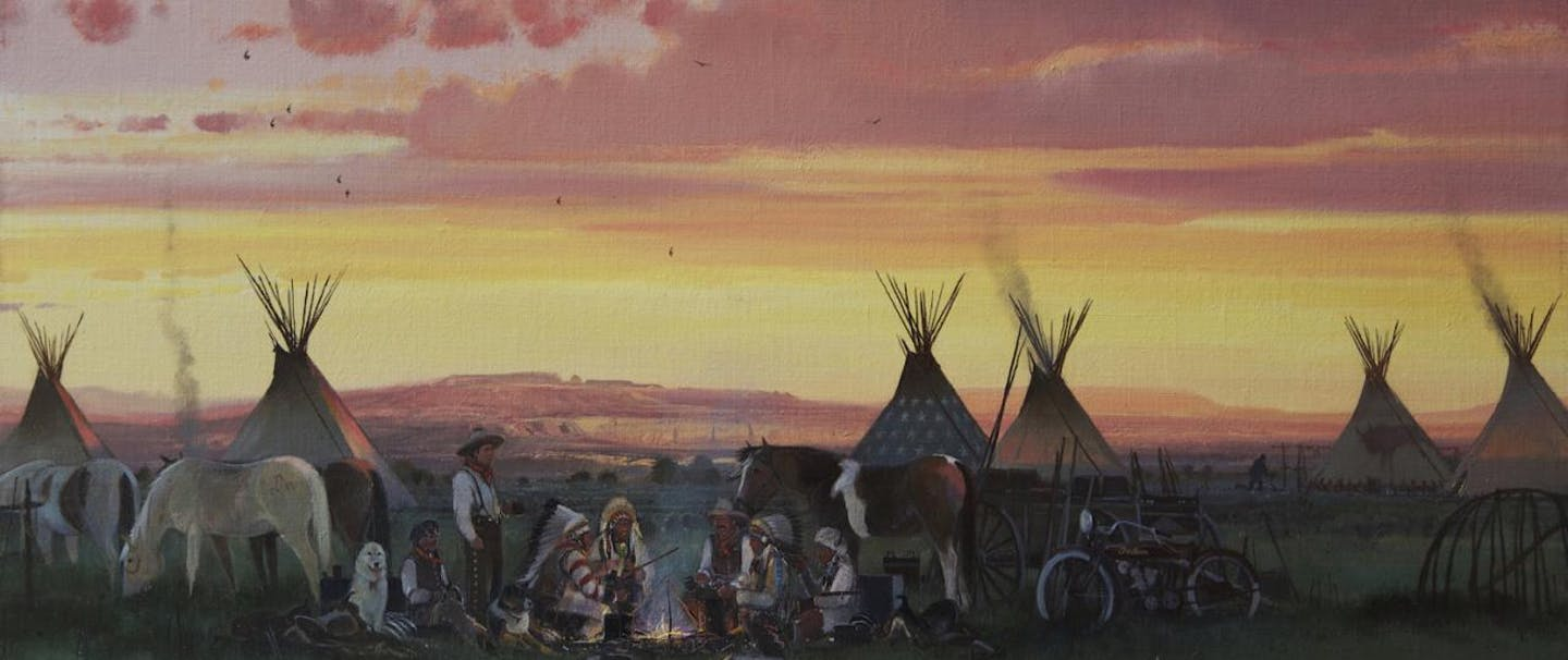 Filson Life - Nicholas Coleman painting of teepees and native americans and horses at camp at sundown