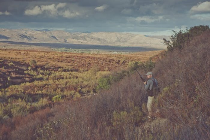 hunter with pack surveys sage-brush valley from hilltop