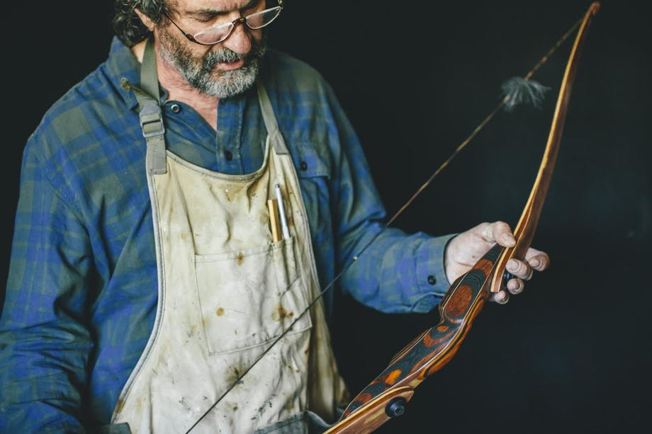 Robertson working on a bow