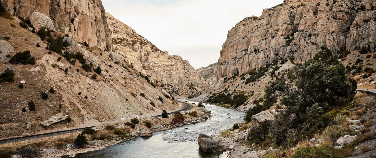 Wind River bends through canyon with sheer white rocks