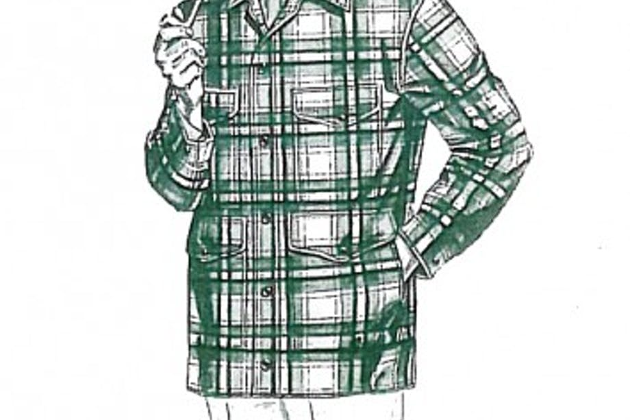 Old fashioned hand-drawn ad for Filson Brown Green White Mackinaw Coat