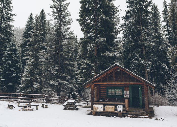 forest service cabin in the snow
