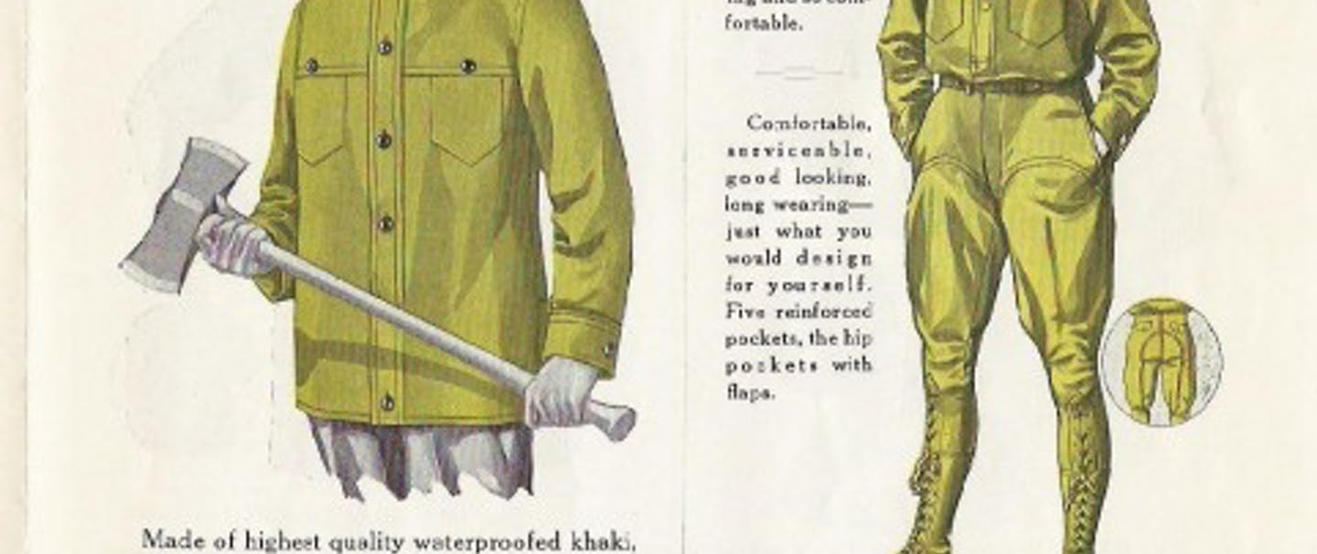 historical filson ad describing loggers' coat and laced breeches