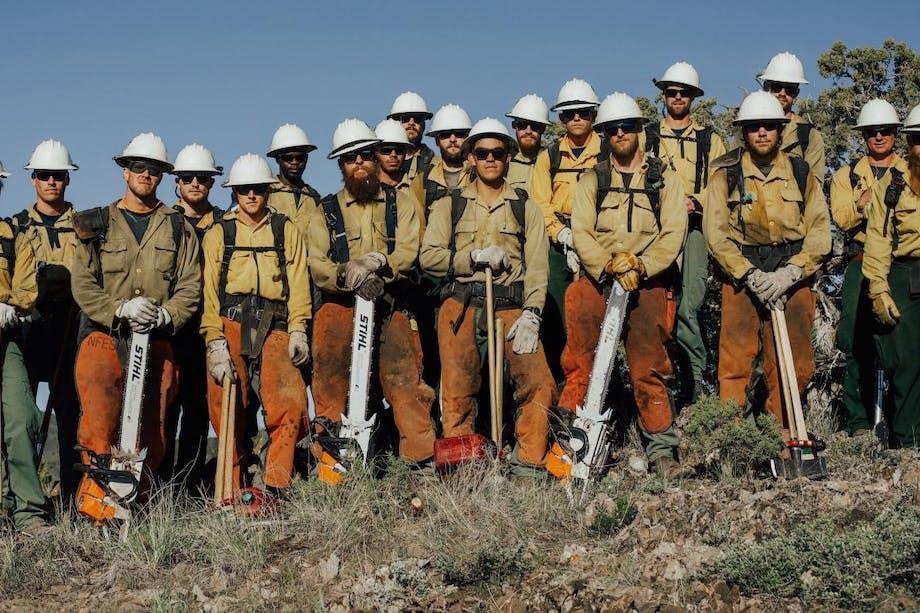 Alta hotshot crew all standing on a hillside