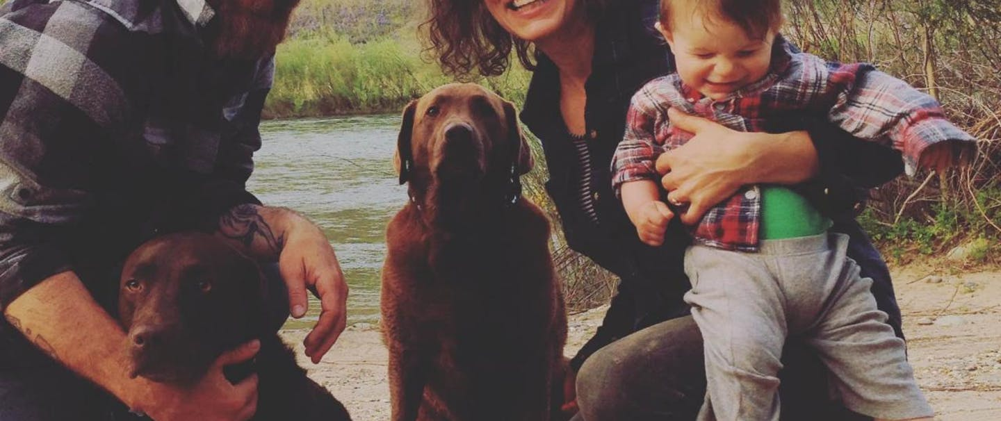 Chuck Ragan, Father's Day family with two dogs father mother and baby at river's edge