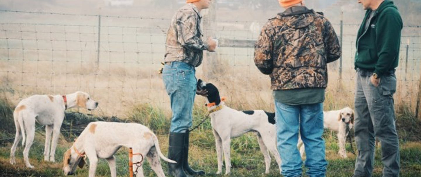 three hunters stand with their hunting dogs in a field