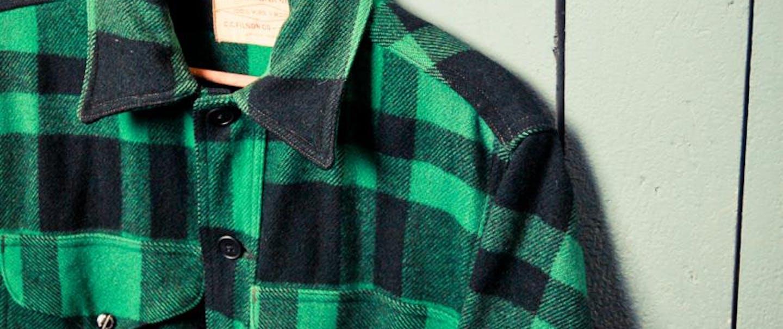 VintageMackCruiser-Filson-7-2 green plaid flannel on hanger