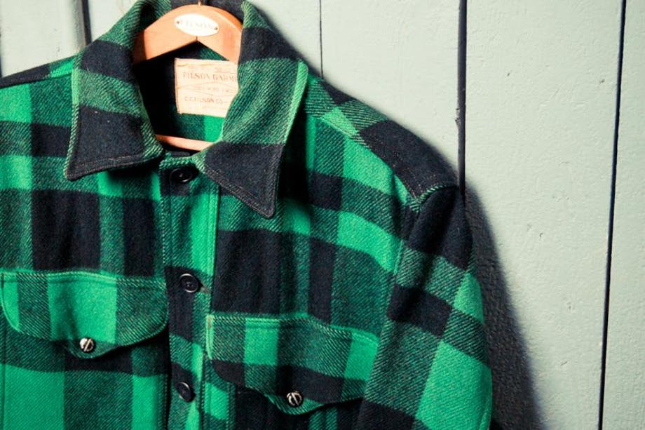 VintageMackCruiser-Filson-7-2 green plaid flannel on hanger