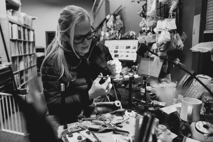 Brita at her fly tying station