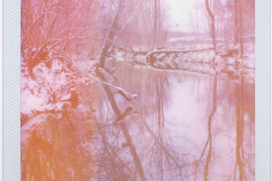 Winter Wanderland - George Barnett 6 polaroid picture of winter scene with reflective river and trees