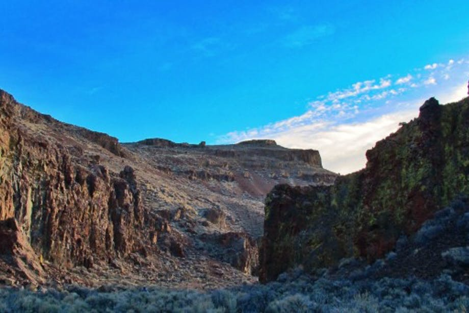 canyon with sheer red rock cliffs and sage brush