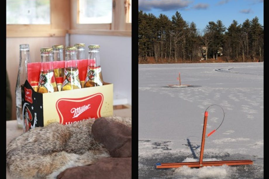 split-screen of six pack of miller highlife and ice fishing setup