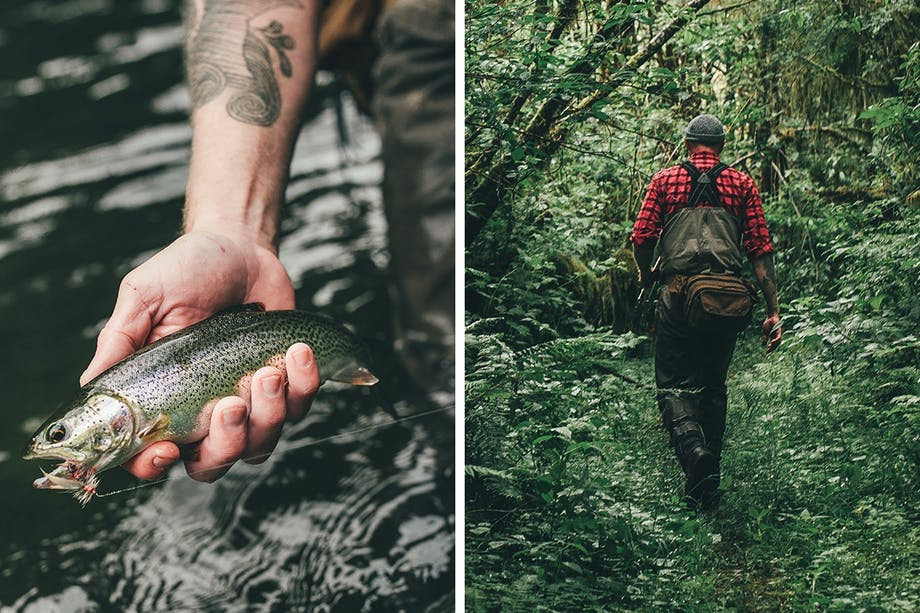 rainbow trout, fisherman walking back on trail