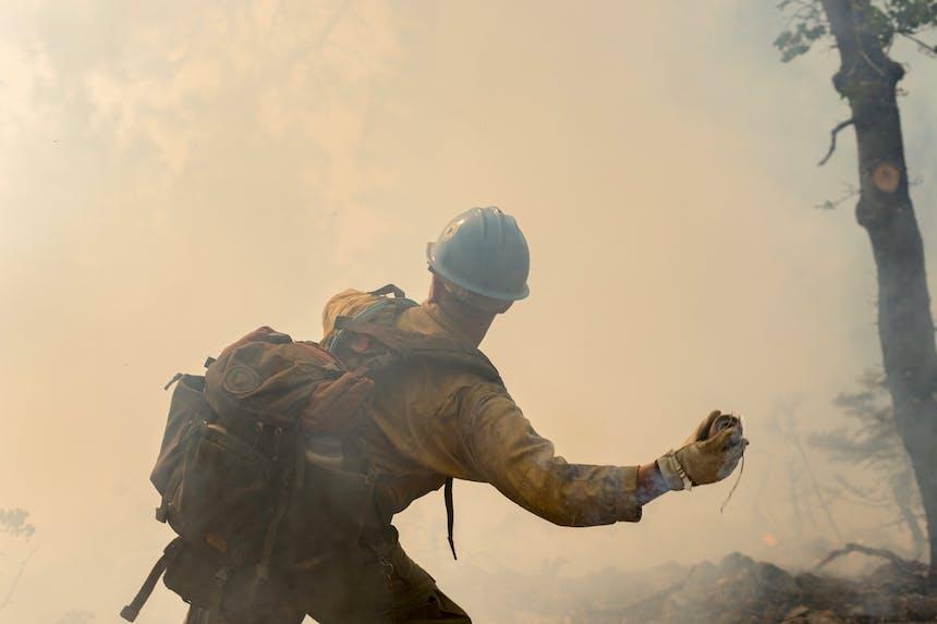wildland firefighter throwing retardant in smoky forest