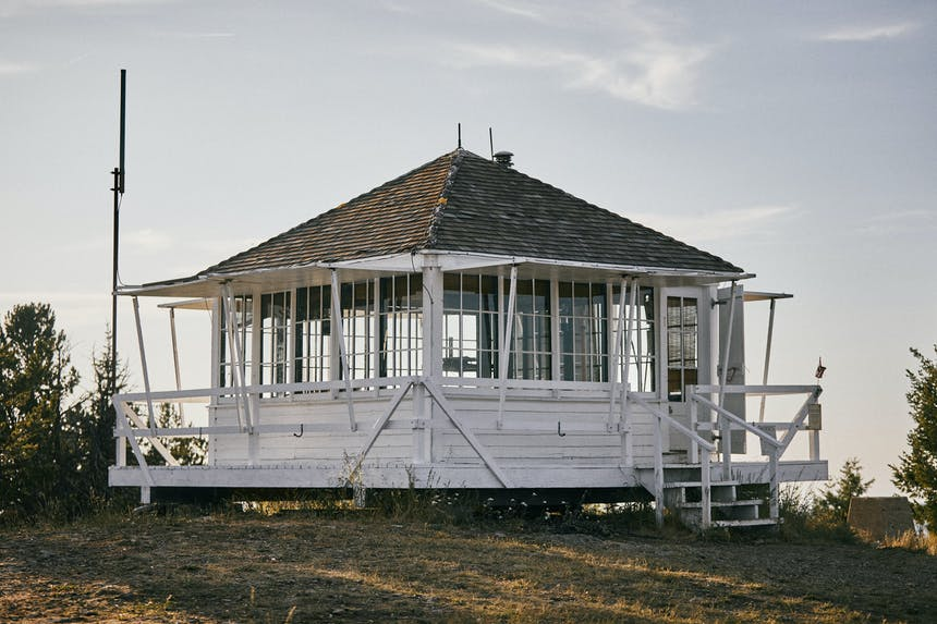 monument peak lookout tower with new roof