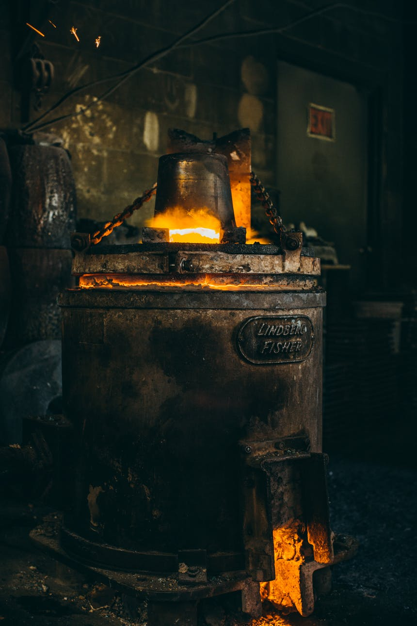 stove pressing hot metal