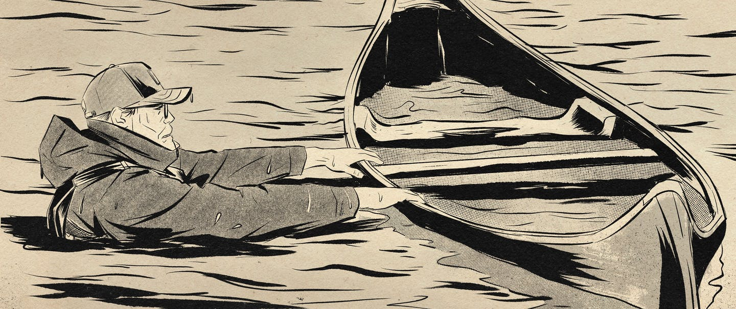 sketch of man wearing jacket and hat in river holding canoe