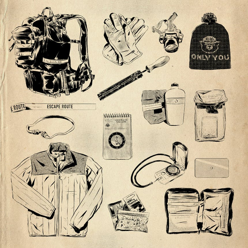 illustration of wildland firefighter pack contents