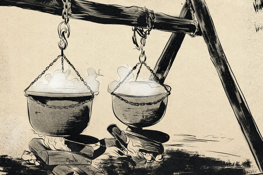 illustration of pots of maple syrup cooking over camp fire
