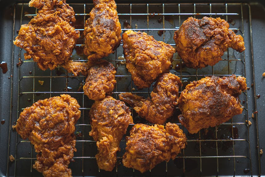 fried chicken on sheet pan