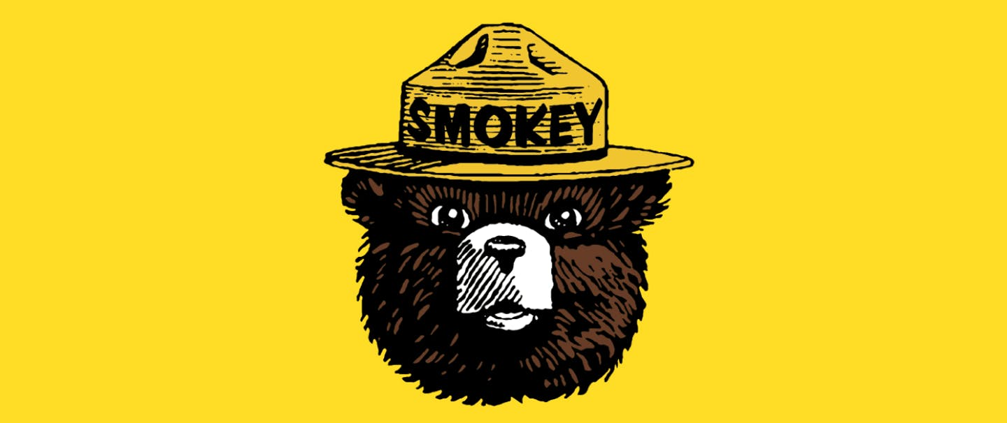 smokey bear iconic logo of brown bear head, white snout, yellow hat and black lettering readying SMOKEY