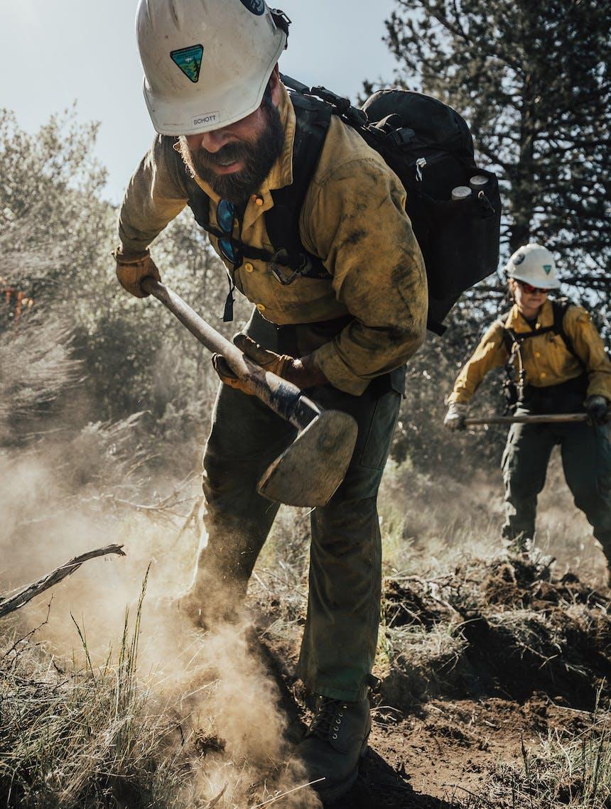 firefighters working on fireline