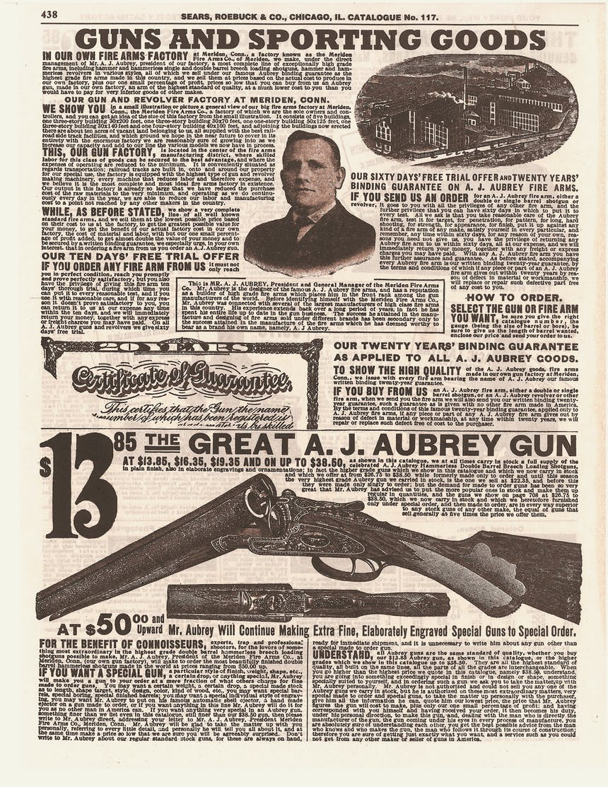 1908 Sears Catalog, tan and brown old page, on shotgun page