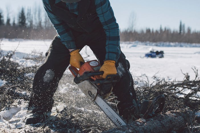 man wearing a blue flannel, black work pants, a black cap, orange ear muffs cutting a tree with a orange chainsaw