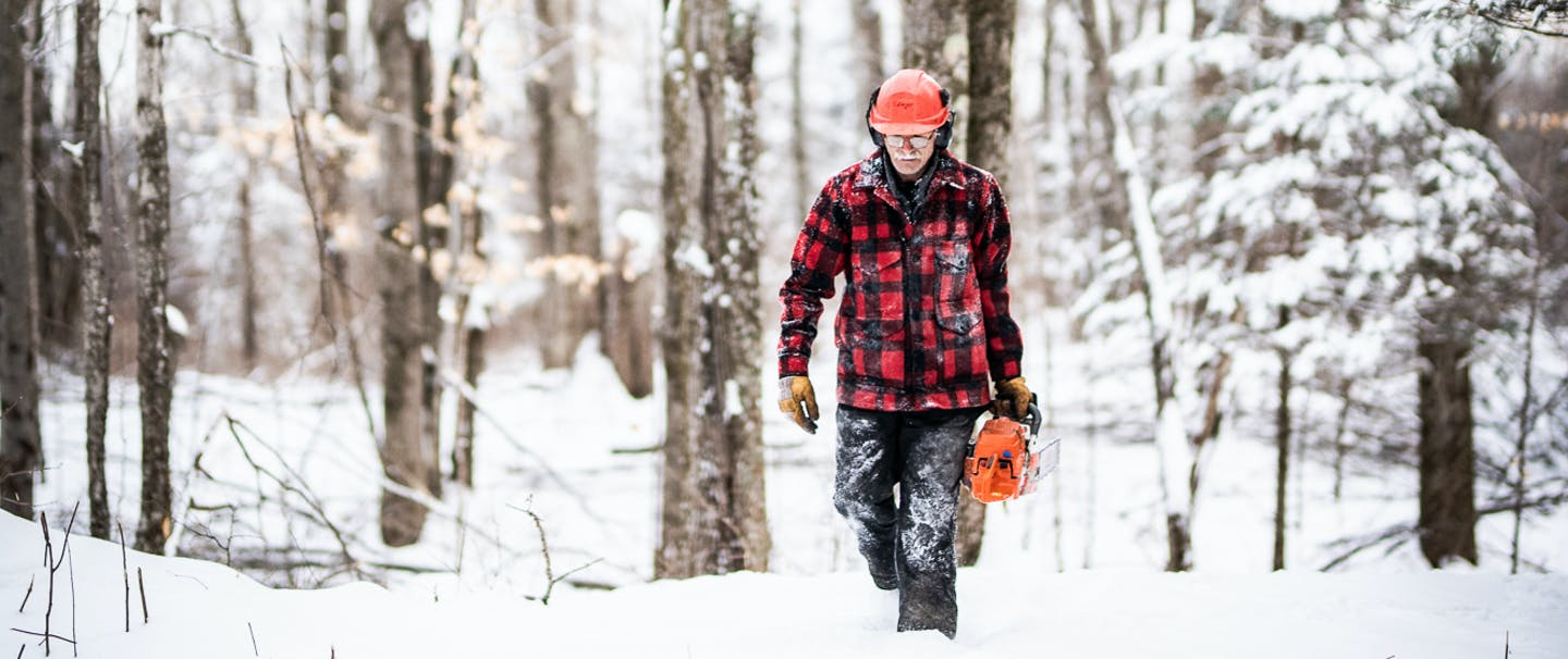 a man wearing plaid red and black wool coat, snow pants and a orange hard hat, walking towards the camera in a snowy wooded area