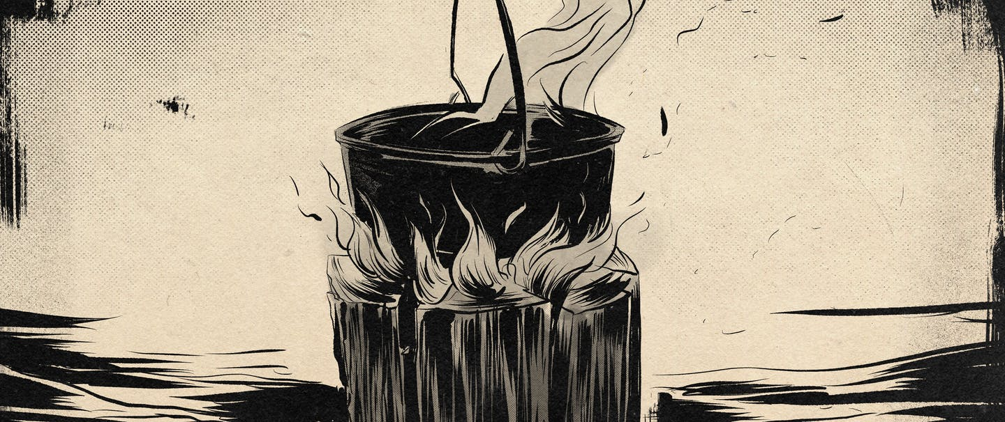 an illustration of a wood log burning from the inside out with a cast iron dutch oven on top