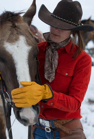 woman wearing a red button up shirt, a brown scarf and yellow goat skin gloves holding and petting a horses face with another behind her in a pasture
