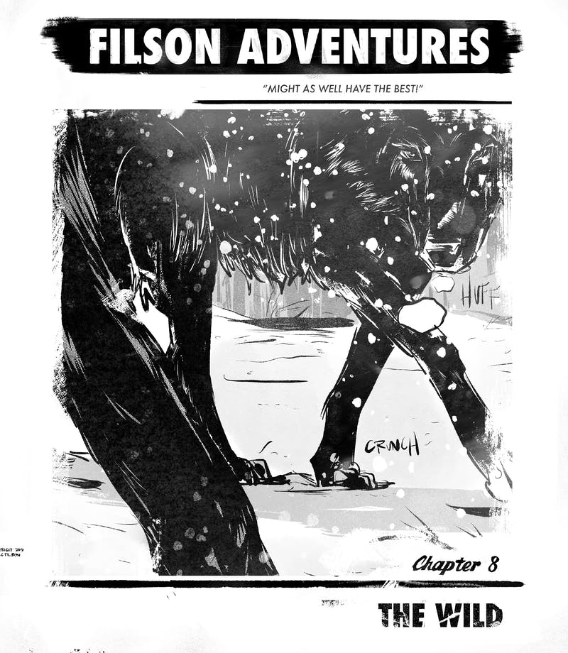 cartoon graphic of filson adventures, chapter five, the get ready with a boy wearing a dark coat, white shirt and bleeding from being hit in the face