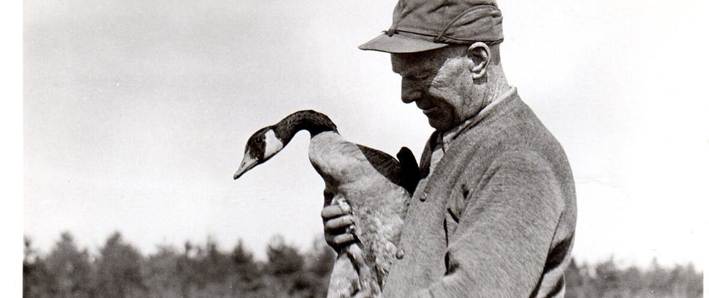 wild goose jack wearing a cap, dark sweater and holding a goose