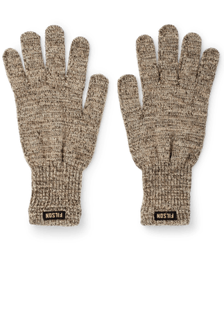 a pair of heather brown gloves with the word Filson in black and brown on the wrist