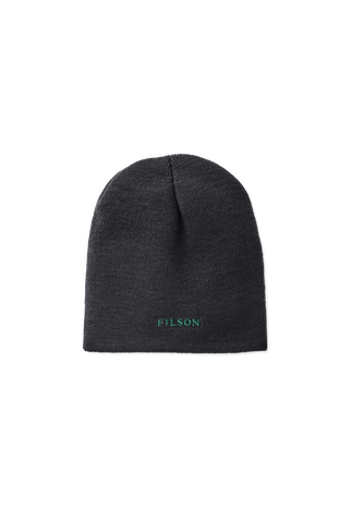 a charcoal beanie with green lettering spelling Filson