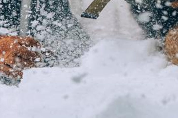 a blonde woman wearing a black down jacket, black beanie with black and white ski goggles on her forehead, black snow pants and brown gloves using a silver metal shovel to dig into a snowpack from an avalanche while her black, brown and white dog wearing a pack steps in to rescue the hurt individual