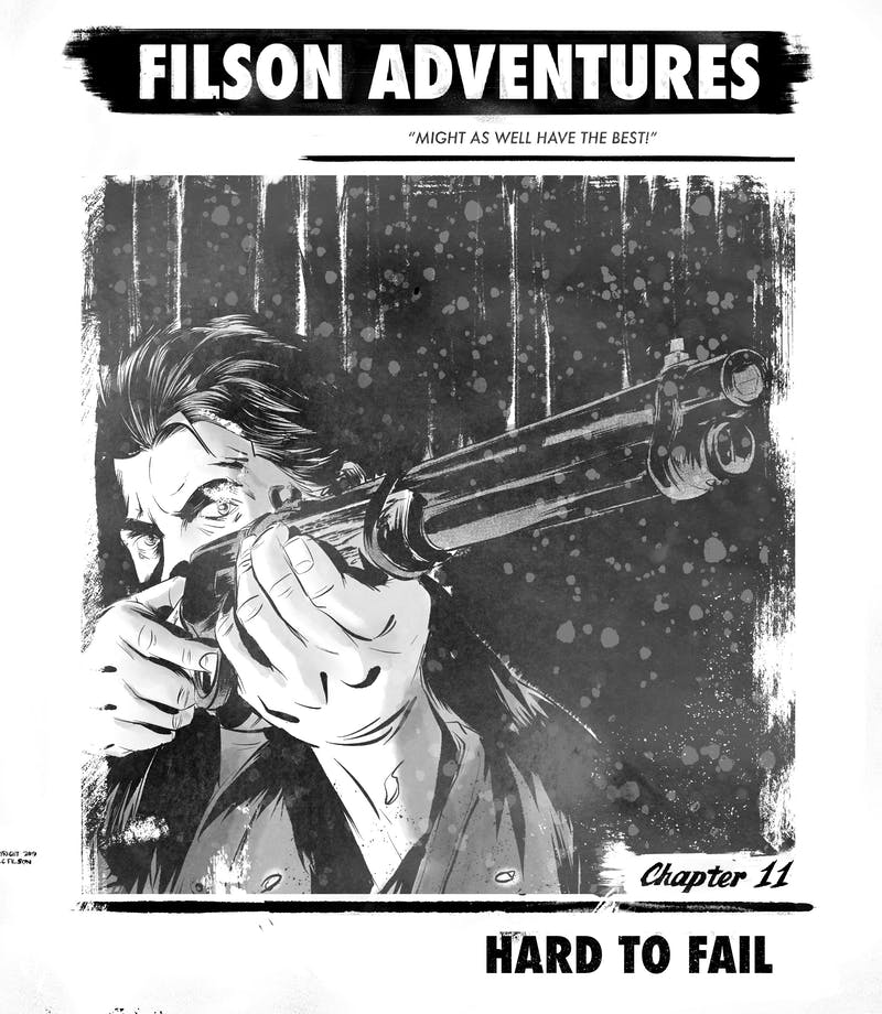 filson adventures, chapter eleven, Hard to Fail, Jack holds a gun close to his face to aim, pointing it towards something in the distance