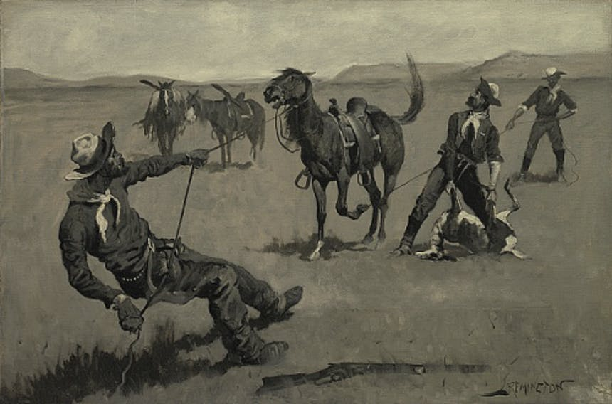 Frederic Remington's painting Teaching a Mustang Pony to Pack Dead Game, a man dressed in traditional cowboy attire pulling on the lead rope as he leans back, another man pulls a rope to hold the horse back from behind as a third man hold and attempts to lift dead game onto of the resisting horse, two other horses are in the background unaffected by the scene