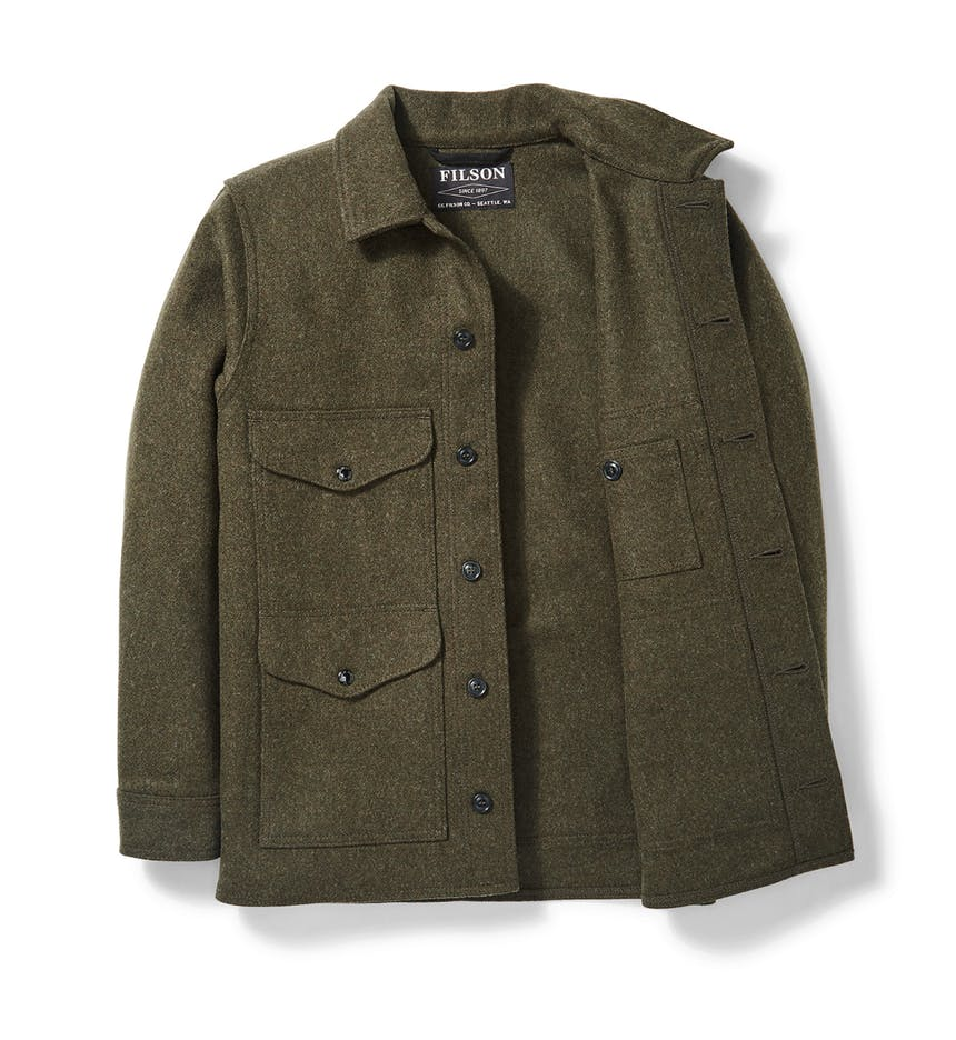 a Filson Mackinaw Wool Cruiser in Forest Green on a white background
