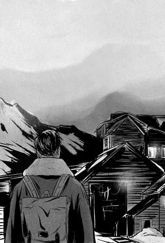 comic: the boy looks towards a small town with lights on