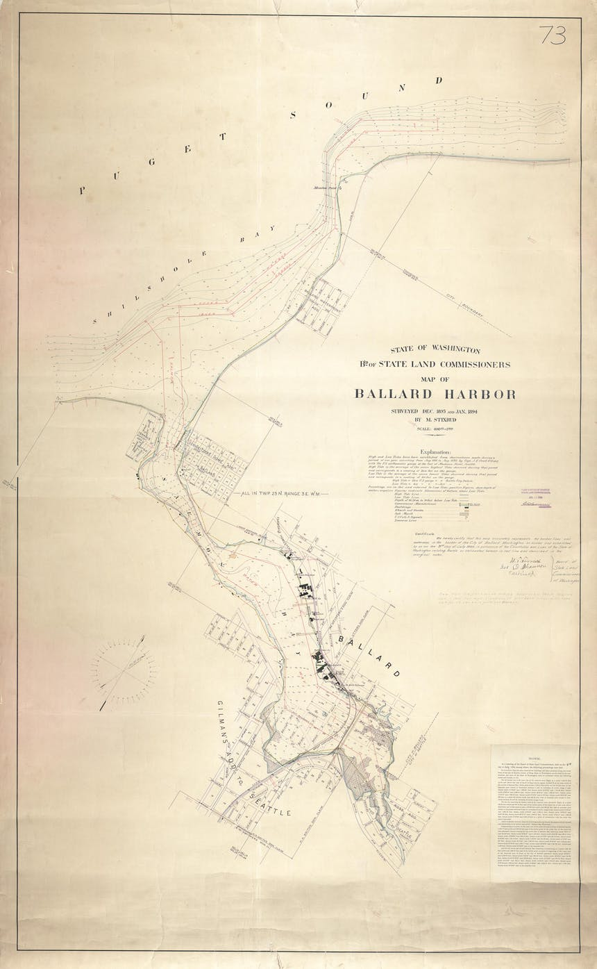 a historic cream colored map of Ballard Habour