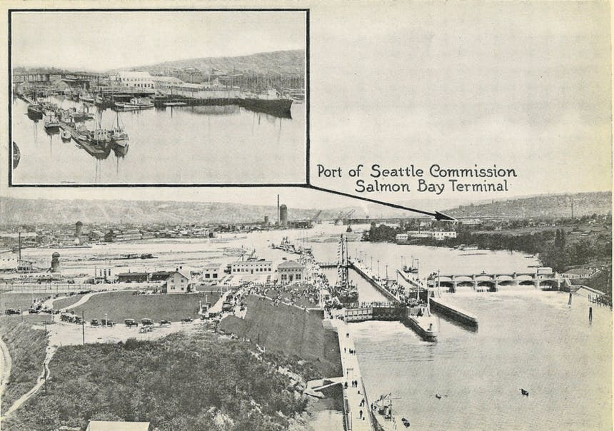 a historic image of salmon bay terminal