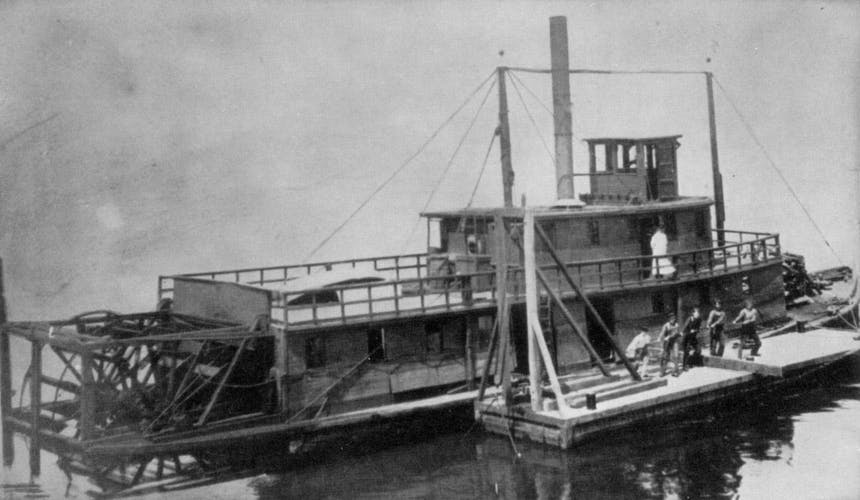 a black and white image of puget sound sidewheeler built in 1871