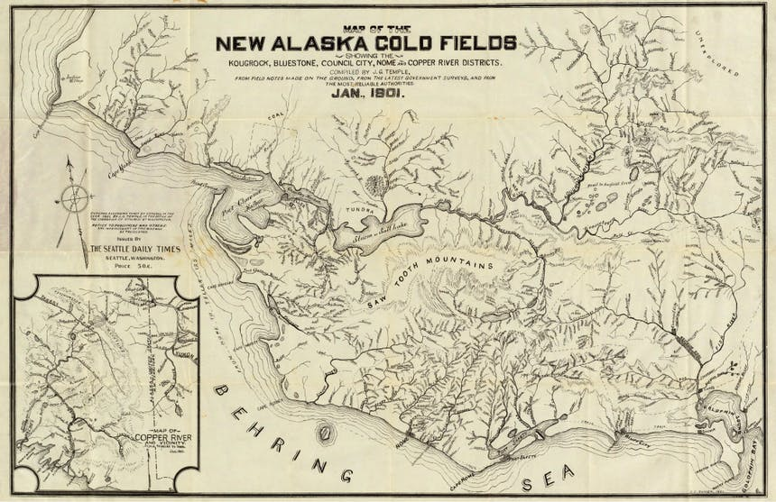 map from 1801 of saw tooth mountains and coldfoot area