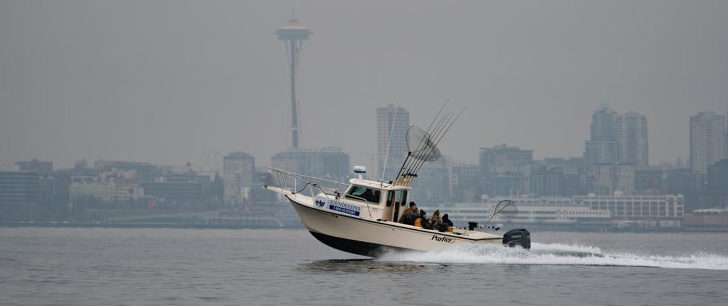 a view from a boat looking toward downtown seattle as a Puget Sound keepers boat speeds past