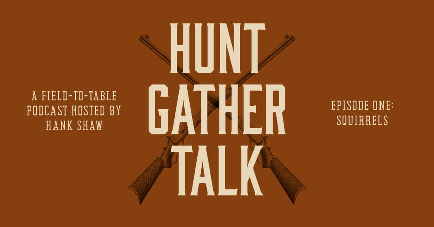 Info Graphic for Hunt Gather Talk Podcast with crossed rifles on orange background