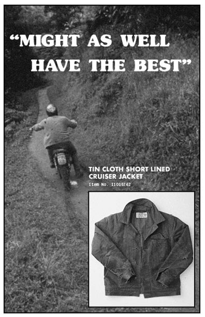 Ad graphic for Tin Cloth Short Lined Cruiser Jacket with man on motorcycle and Header text reading