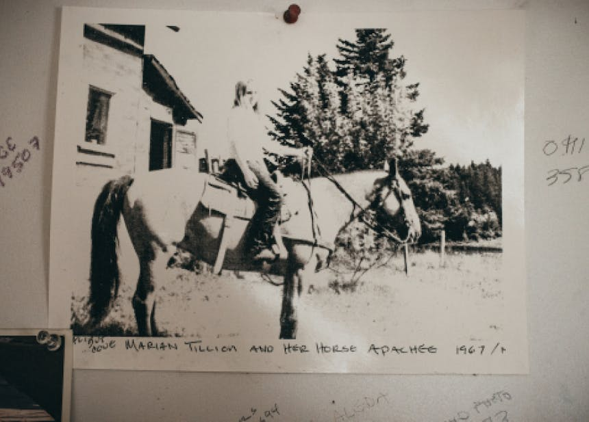 black and white washed out image of Marian Tillion and her horse Apache 1967