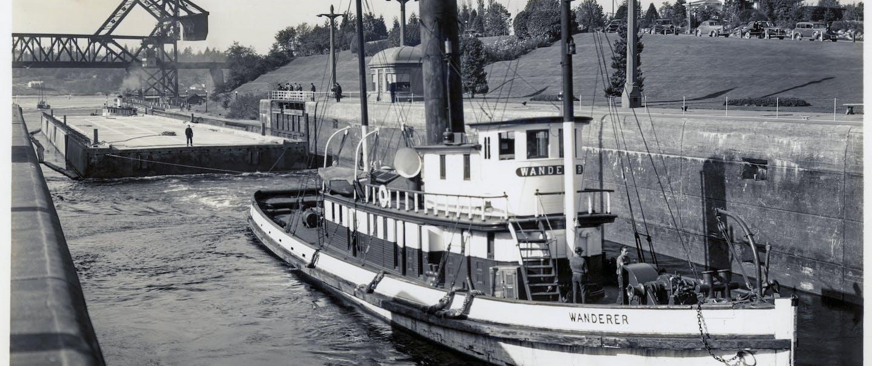 vintage image of pontoon boat